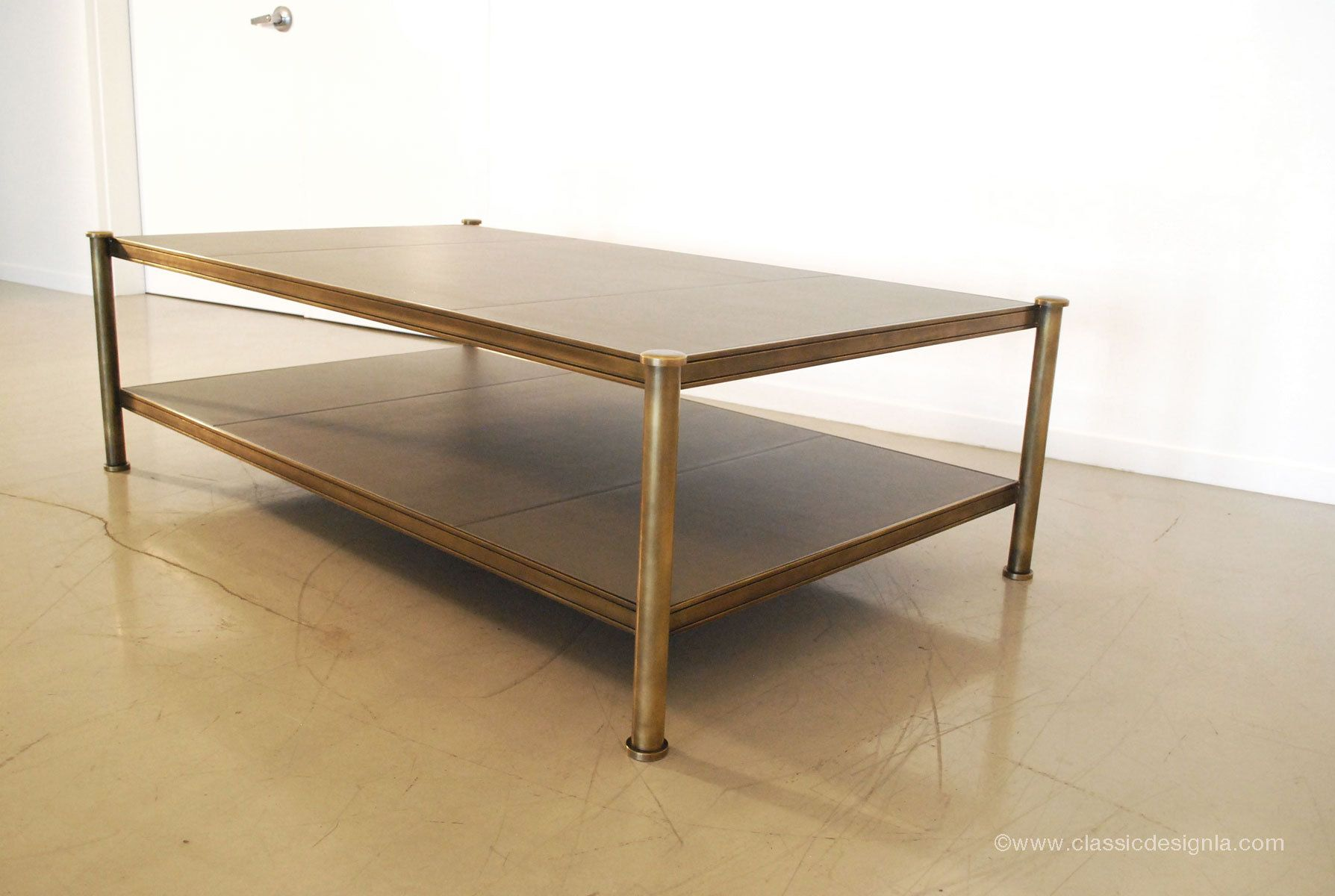 Custom brass & leather panel coffee table