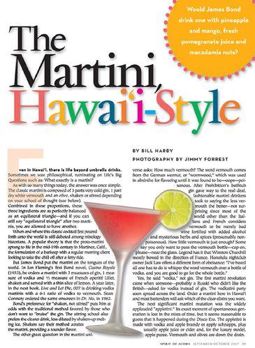 Aloha magazine article with martini shot