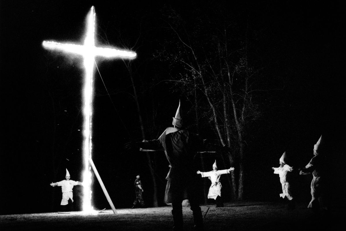 Invincible Knights of the Ku Klux Klan cross lighting. Frederick, Maryland 1994