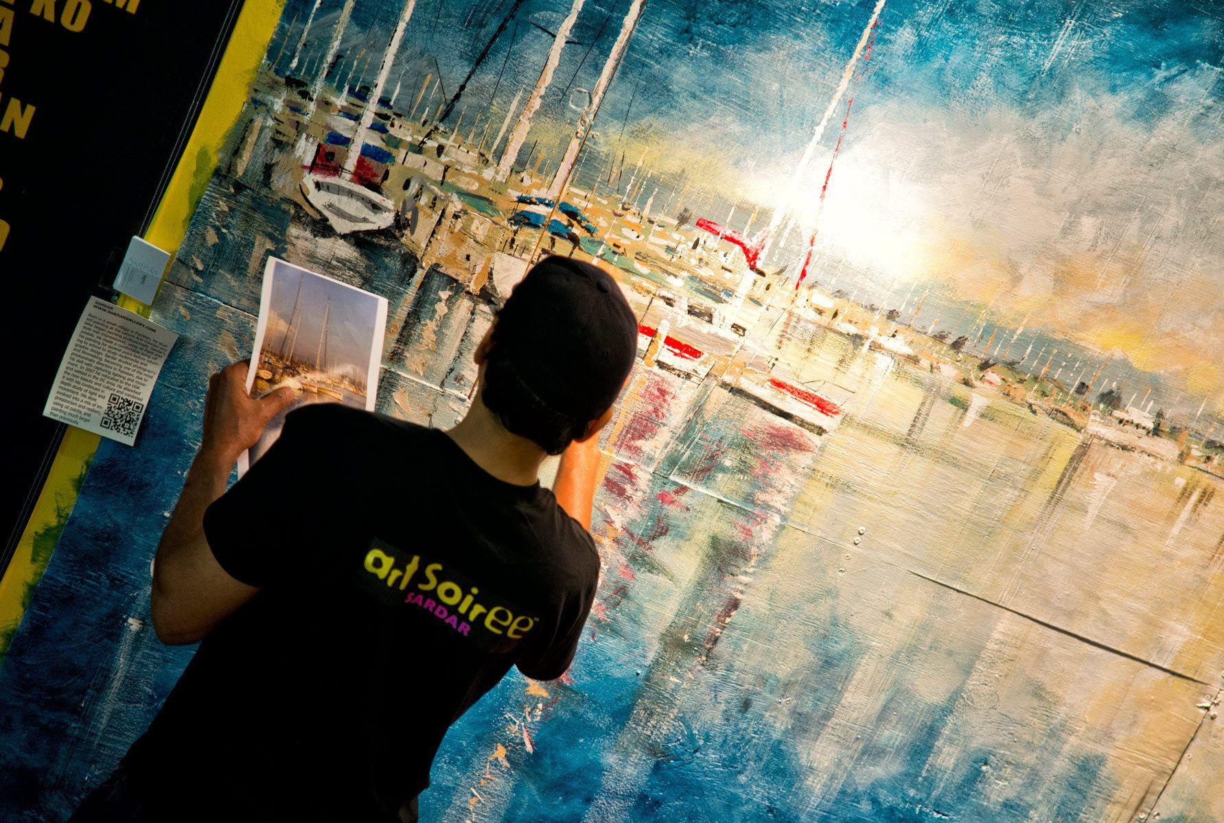 Artist painting in Washington Harbor