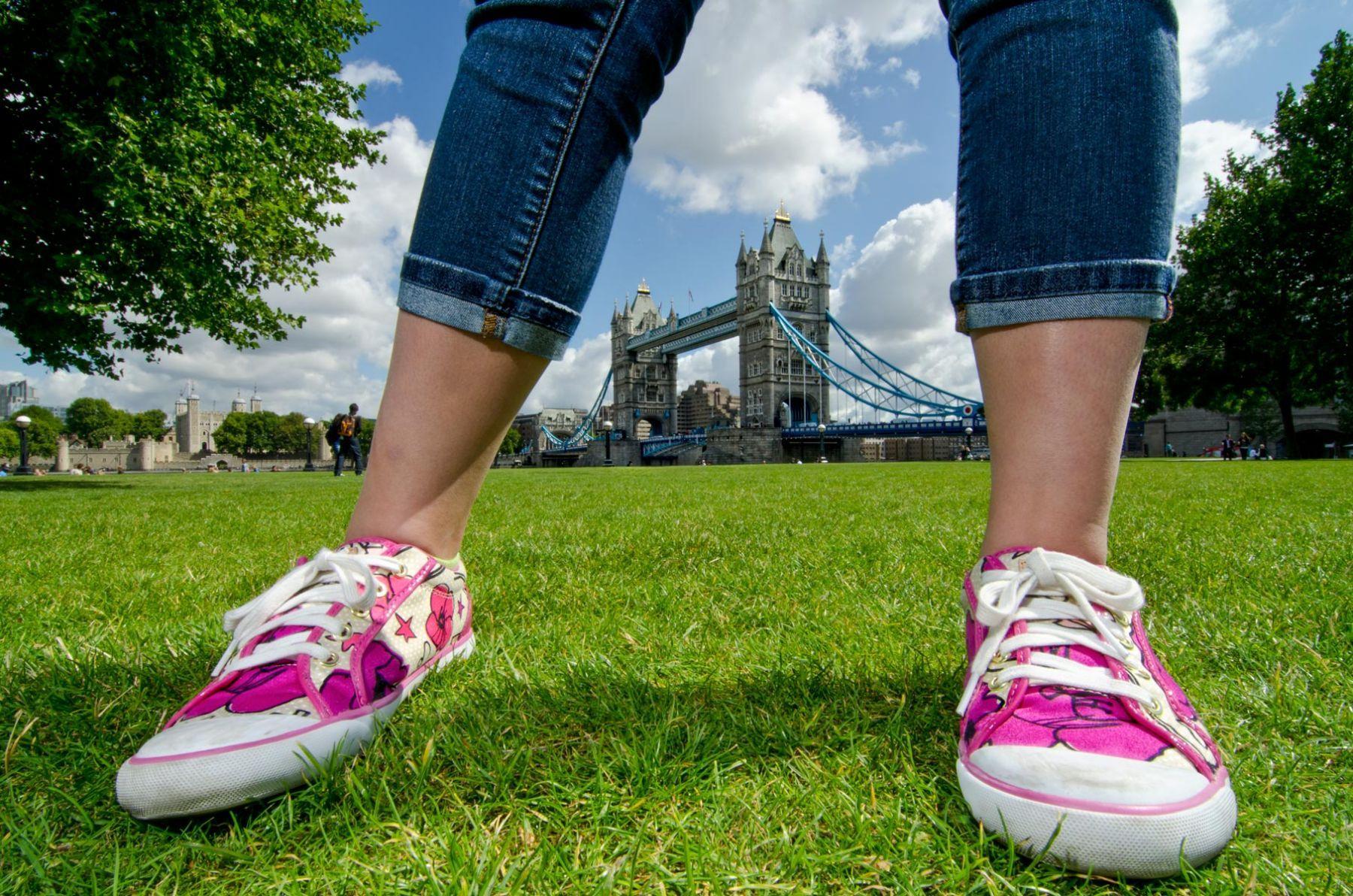 Tower Bridge through girl's legs