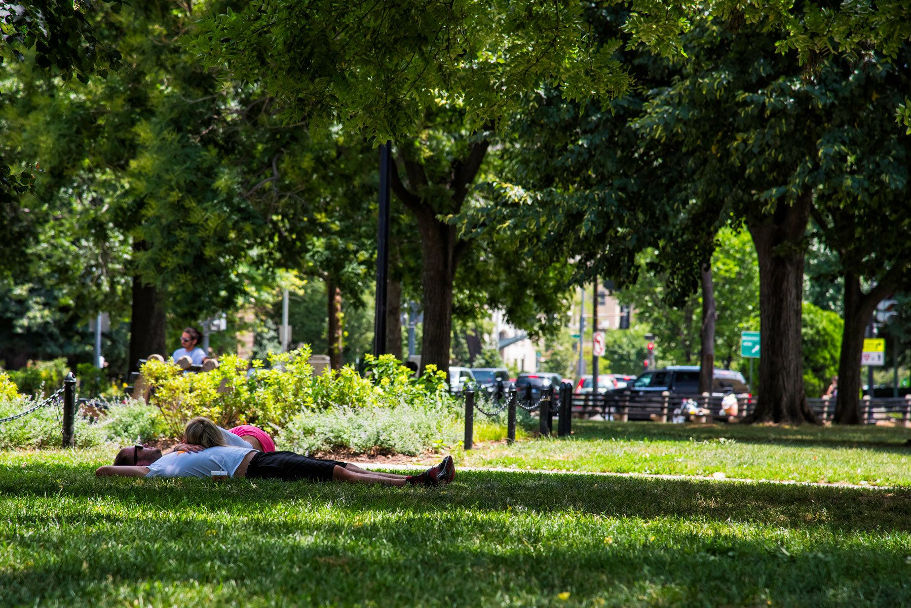 Couple relaxing on grass in Dupont Circle