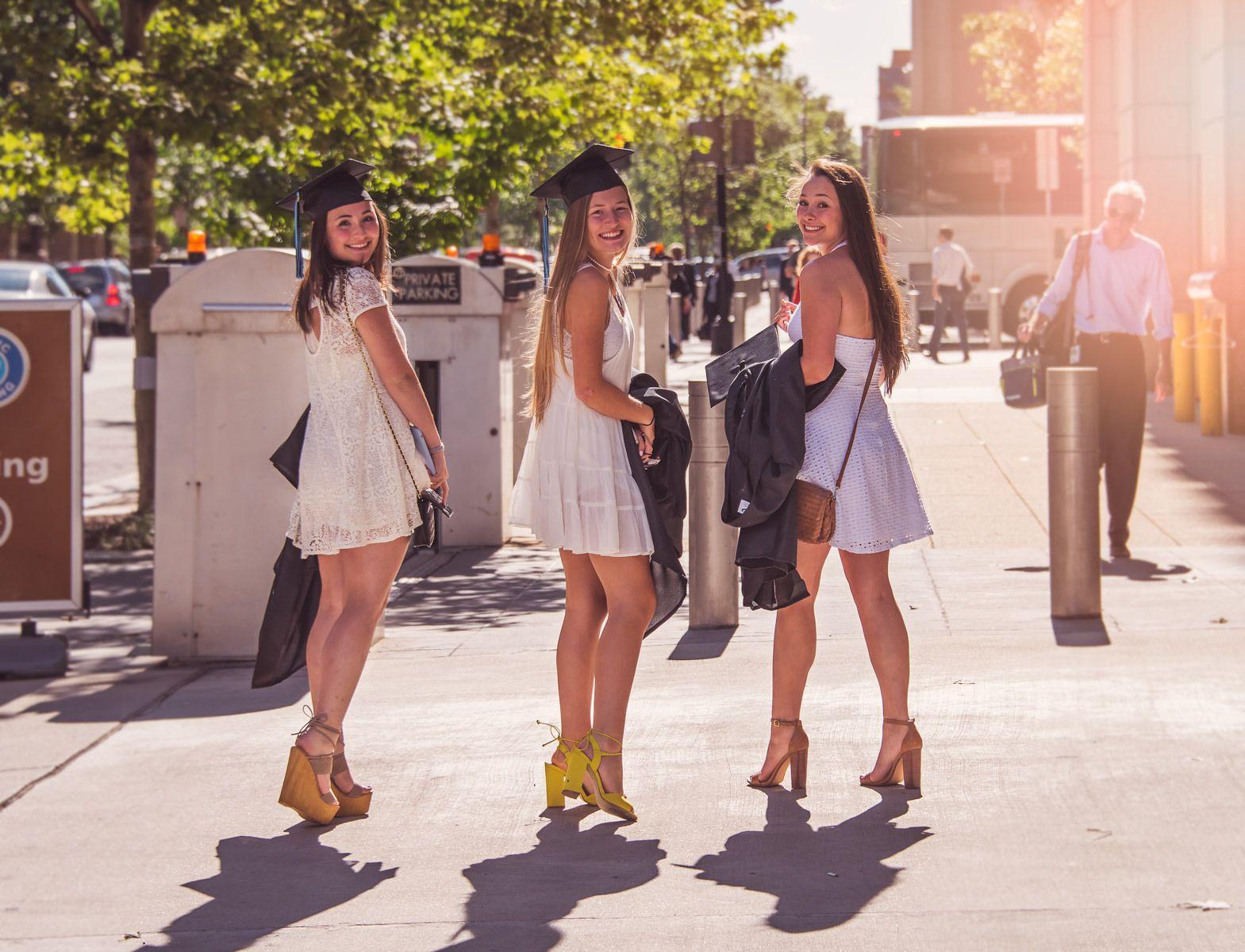 Graduation Day - three teenage girls graduating