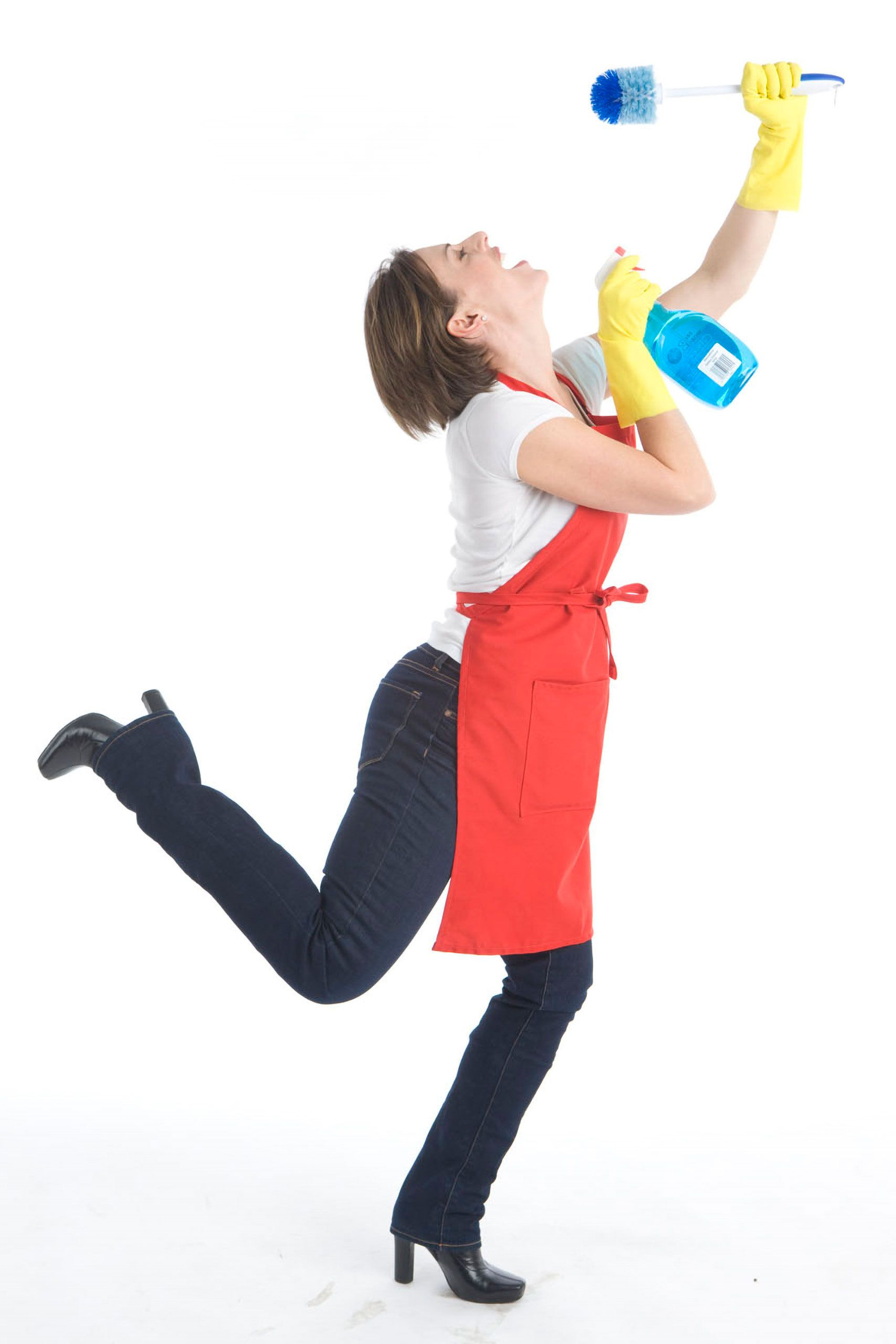 commercial studio advertising photoshoot  woman model loving cleaning products