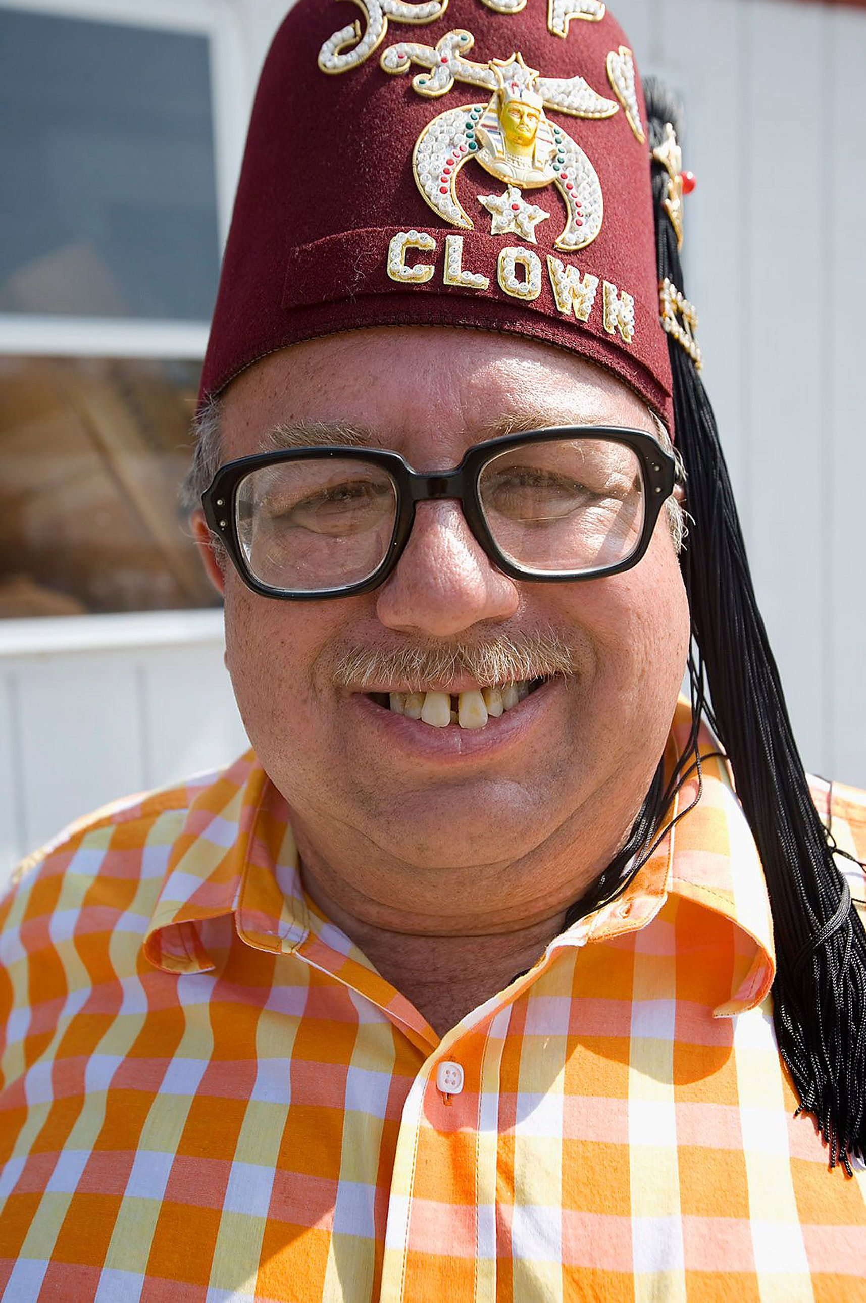 shriner clown for editorial photoshoot