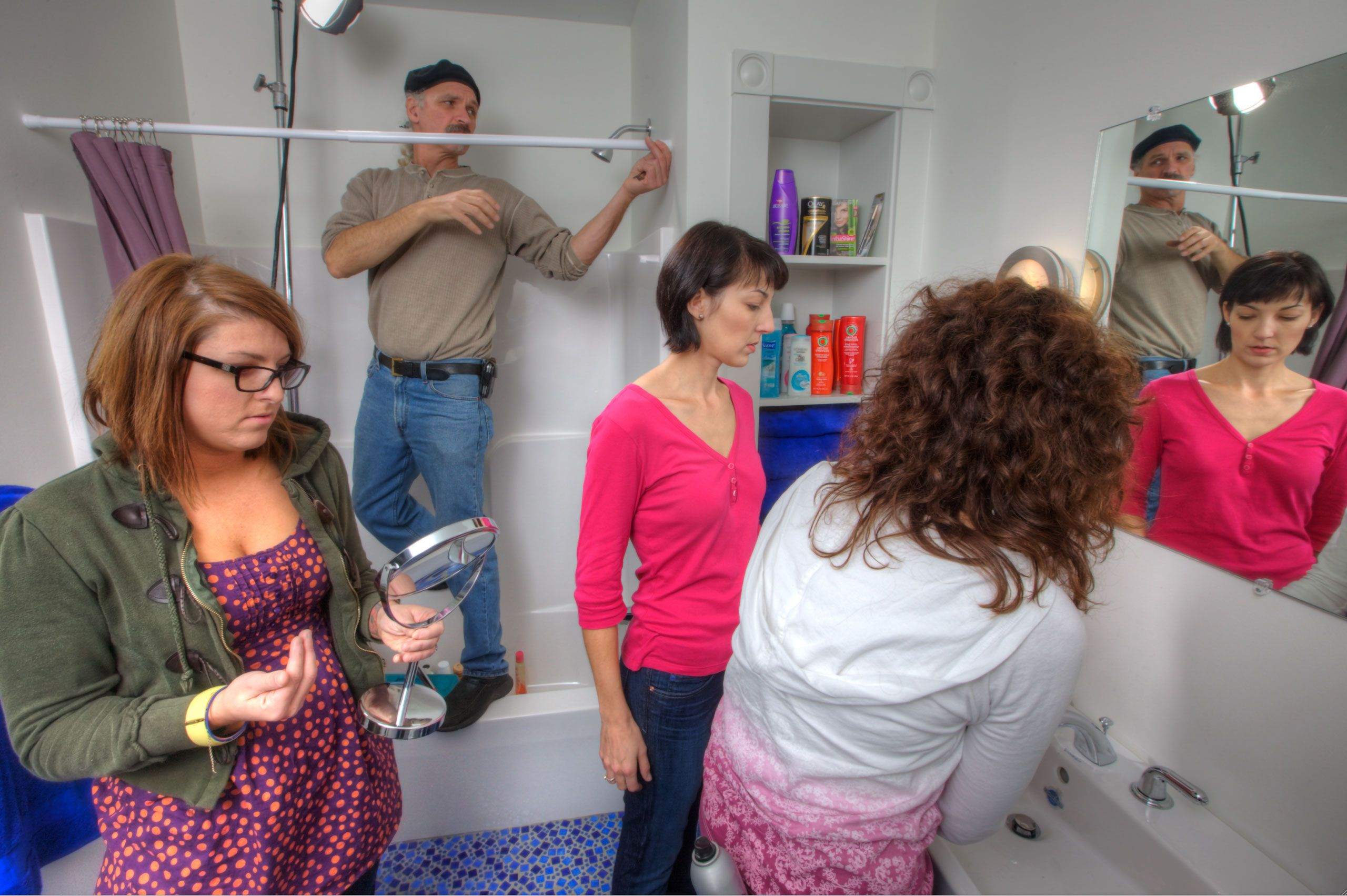 make up and beaty Photoshoot in a small bathroom