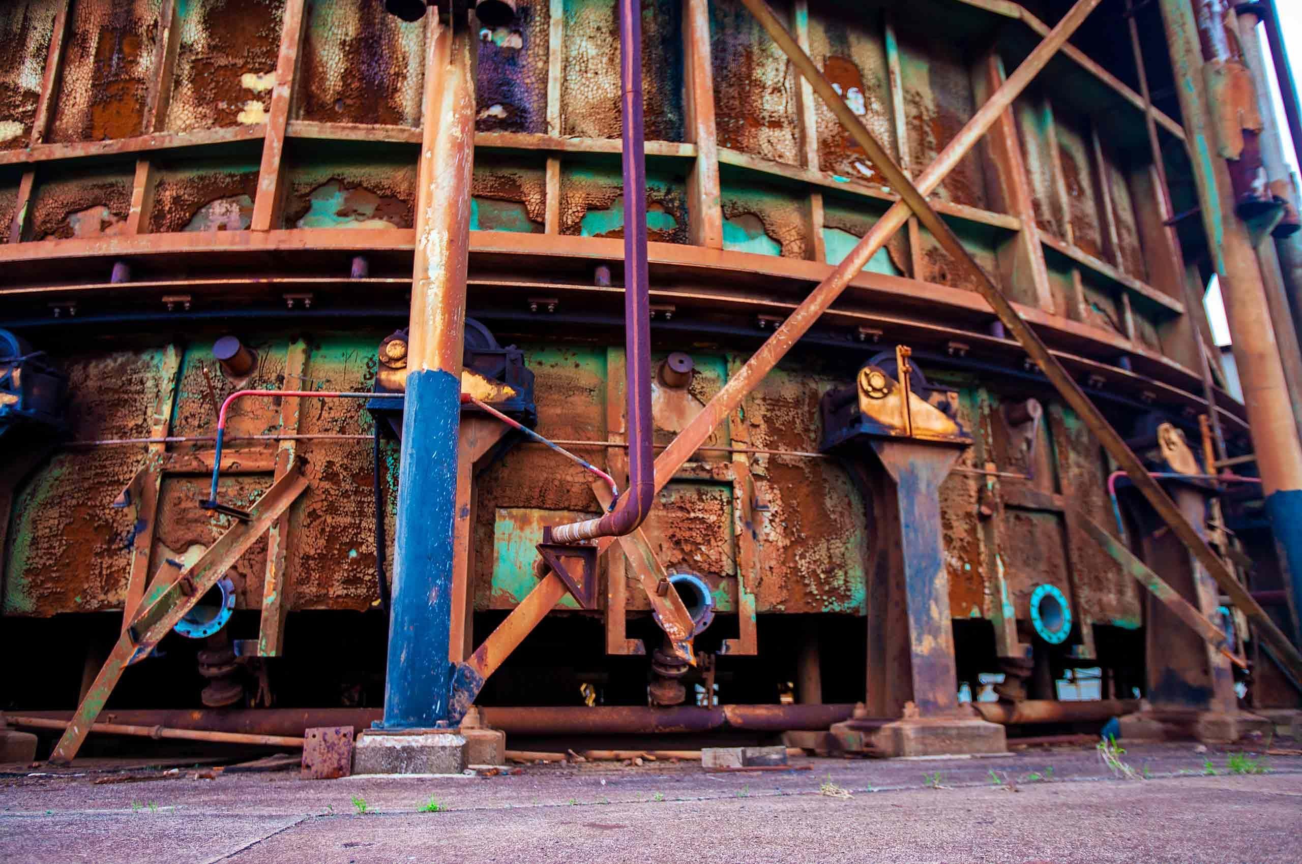 Old abandoned sugar refinery in Maui Hawaii Baldwin AVENUE rusty industrial