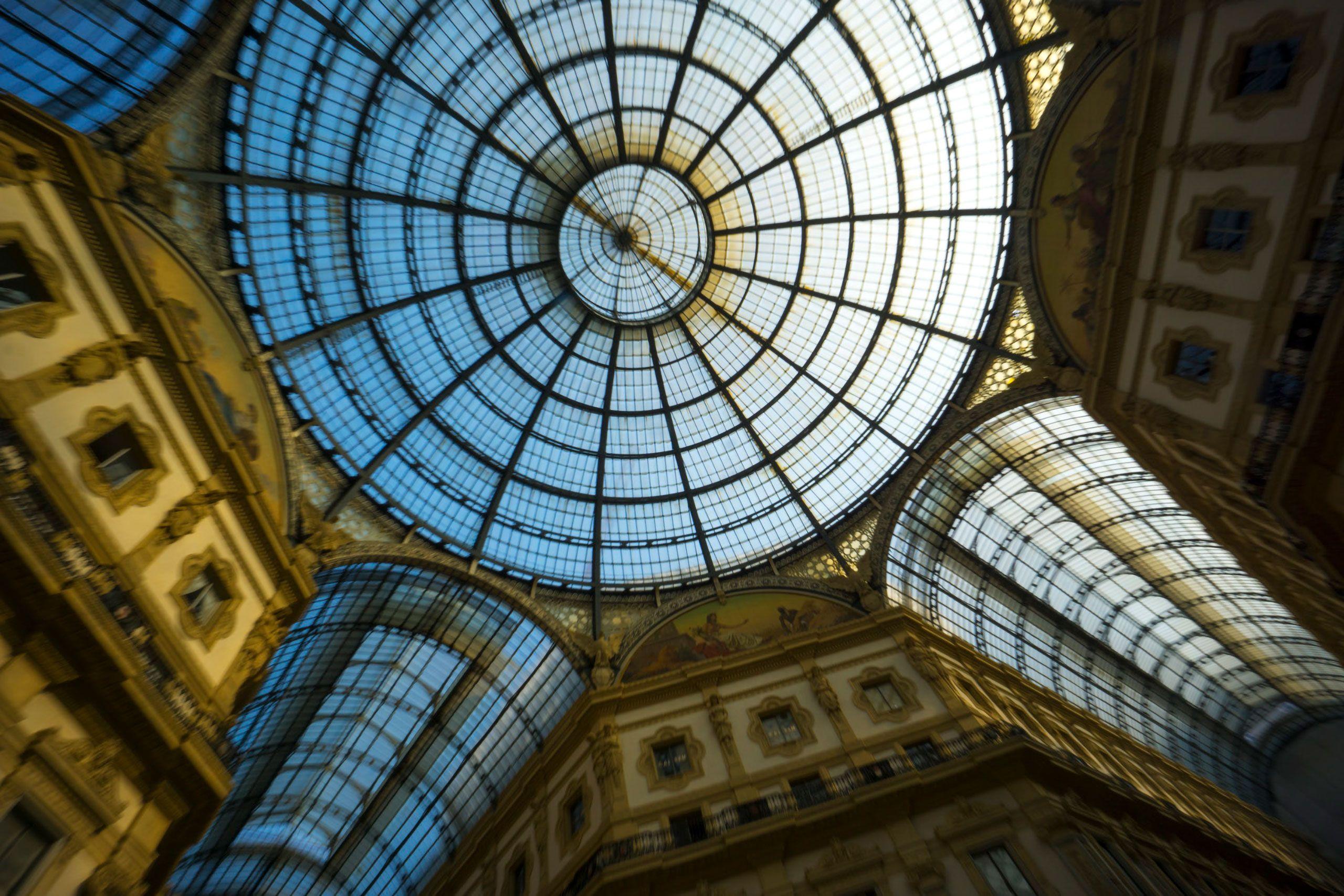 Milan arcade roof  Galleria Vittorio Emanuele II Piazza del Duomo