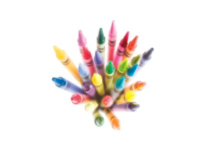 illustration advertising photo of crayons soft focus