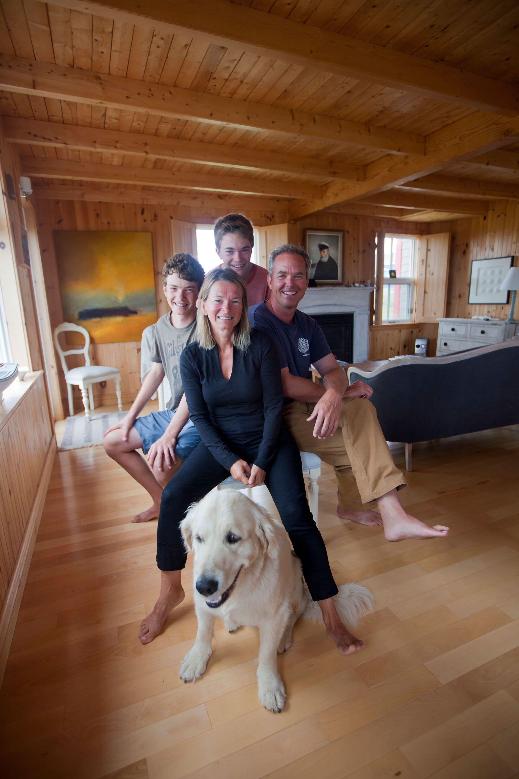 Family portrait and dog Magdalen Islands Îles de la Madeleine Harve Aubert Quebec Canada Bonnie Major Claude Prevost mark eric