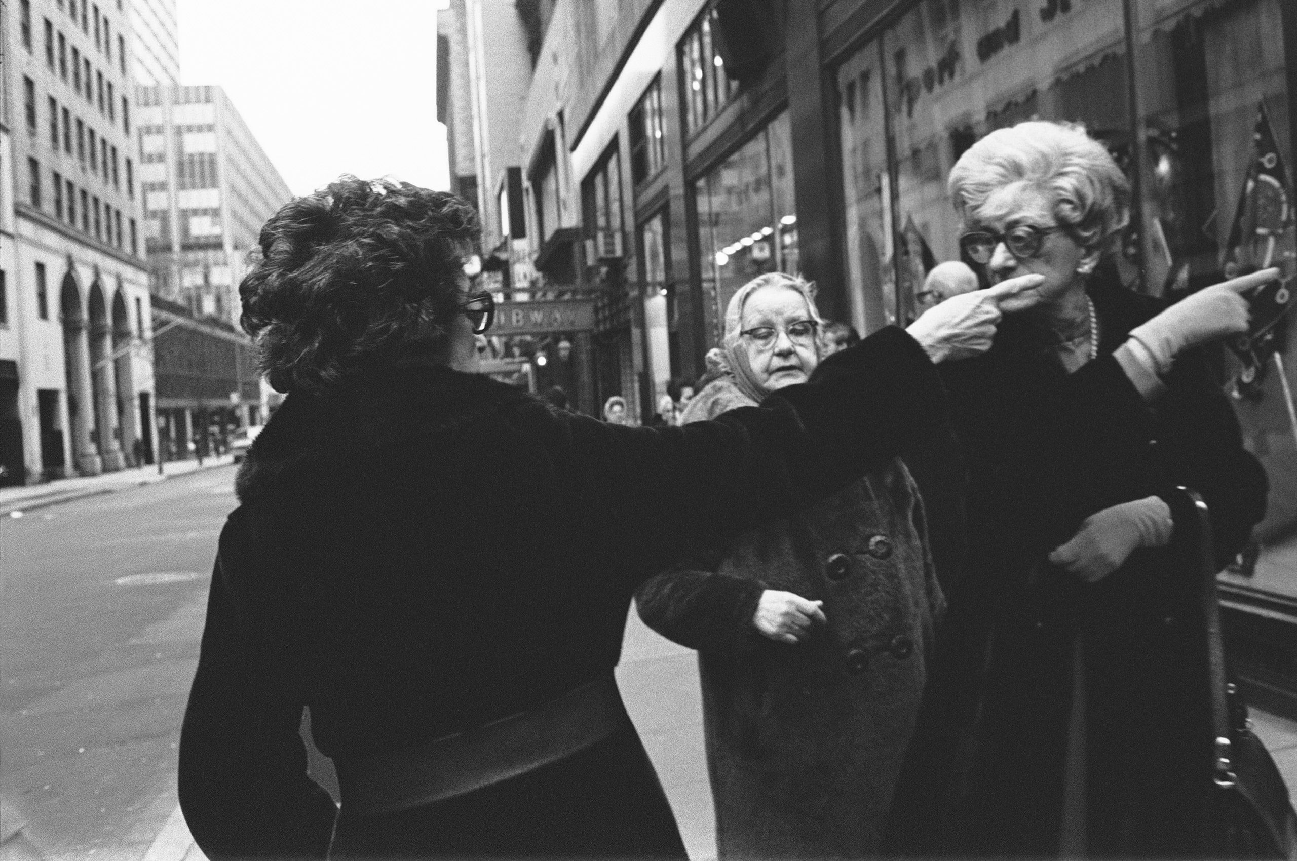 Pointing in NYC B&W street photography 1970 nineteen  seventies