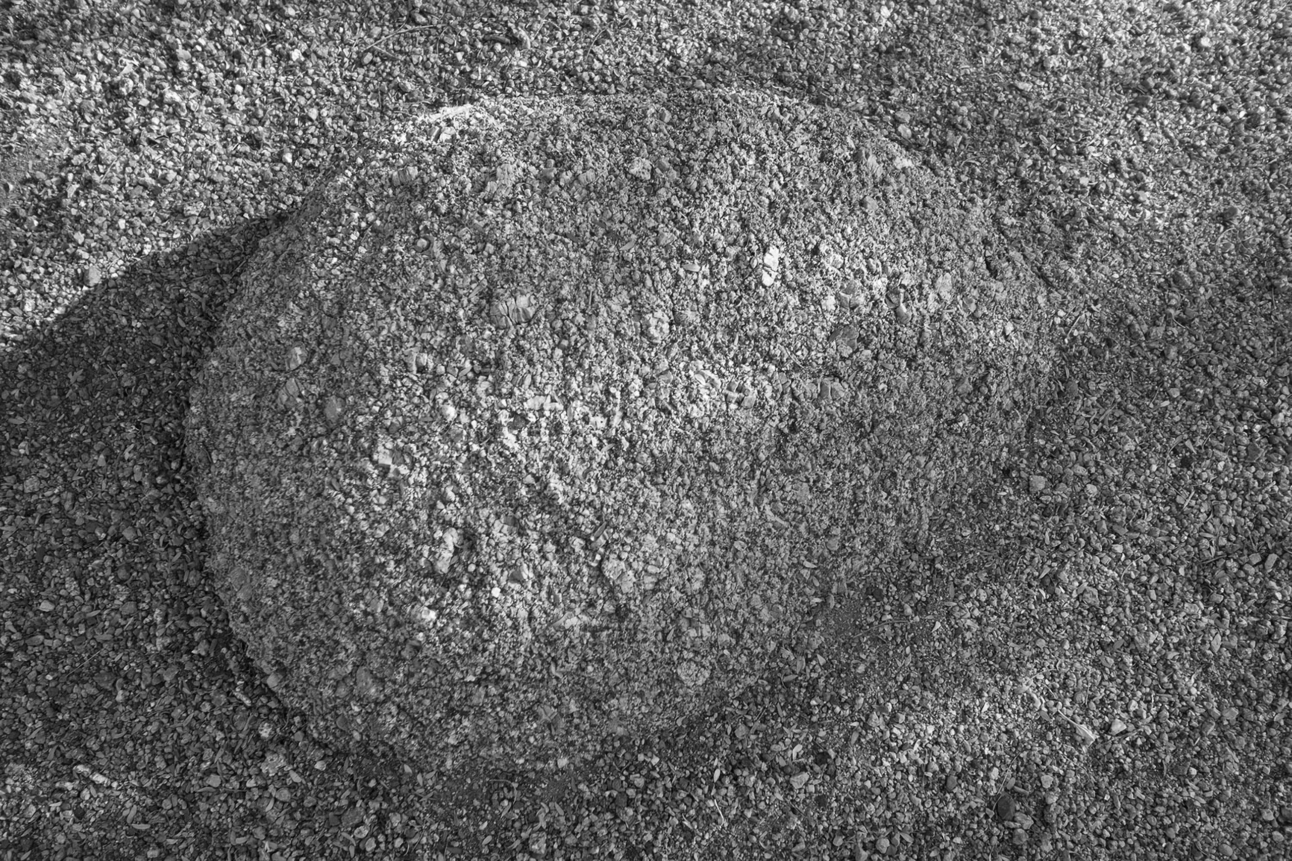 B&W photo of a rock in the desert near Phoenix Arizona