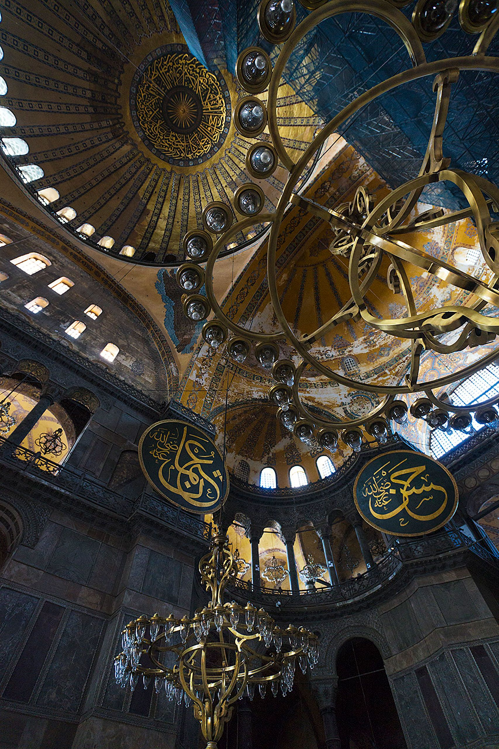 chandeliers down for cleaning hagia sophia Mosque in Istanbul Turkey