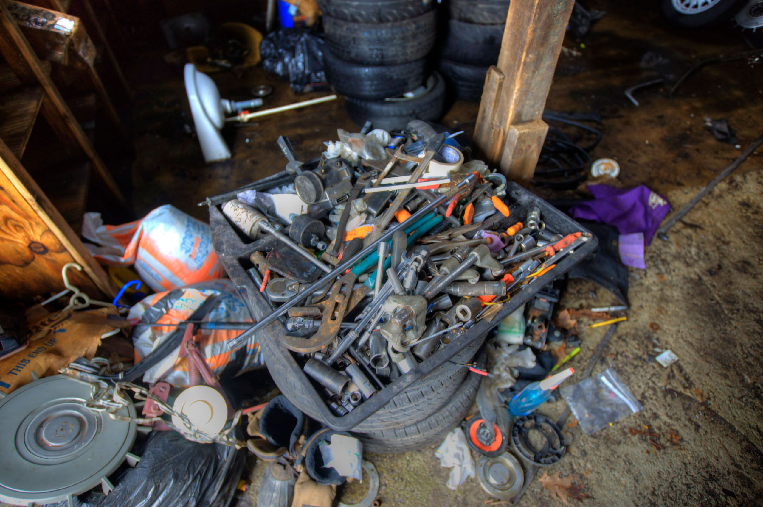 Messy tools in a messy garage