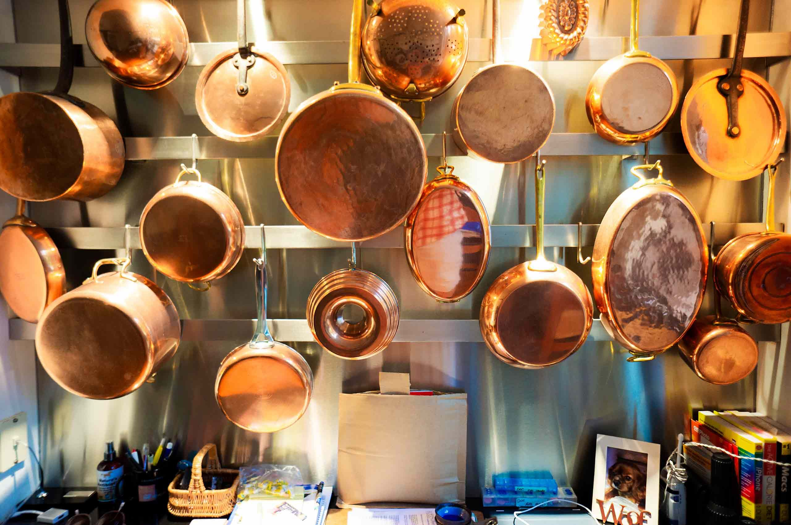 Copper pots and pans collection