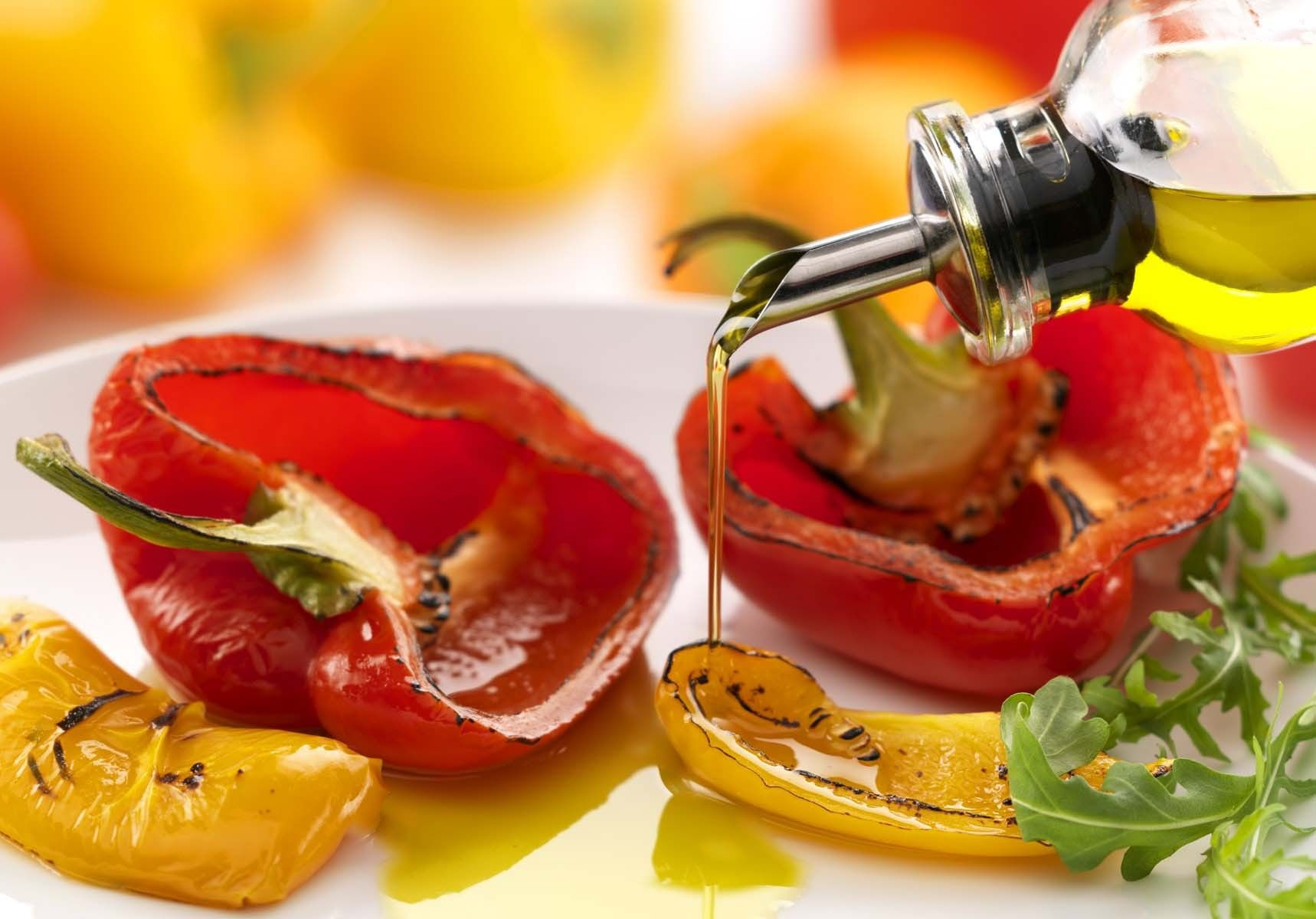 Roast Peppers drizzled with Olive Oil.