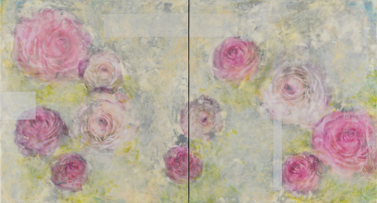 "Emerging Passion, 25""x46"" (Diptych), PhotoEncaustic"