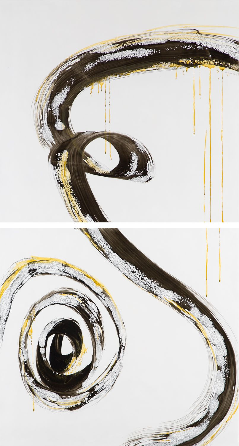 "Ying Of Twyla, 47""x25"" (diptych),  Encaustic"