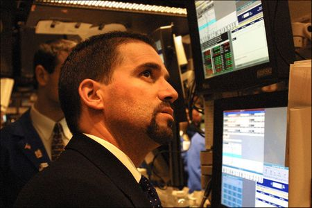 close up man w/goatee in the Pit, NY Stock Exchange