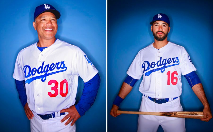 Los Angeles Dodgers manager Dave Roberts and Andre Ethier.