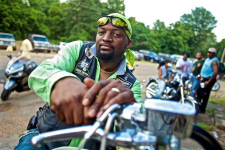 Motorcycle Rider in Green