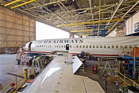 USAir Plane Inside a Hanger