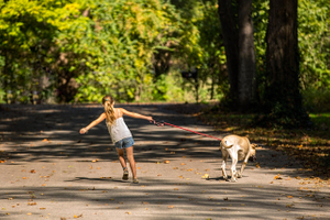 A Girl & Her Dog Going for a Walk