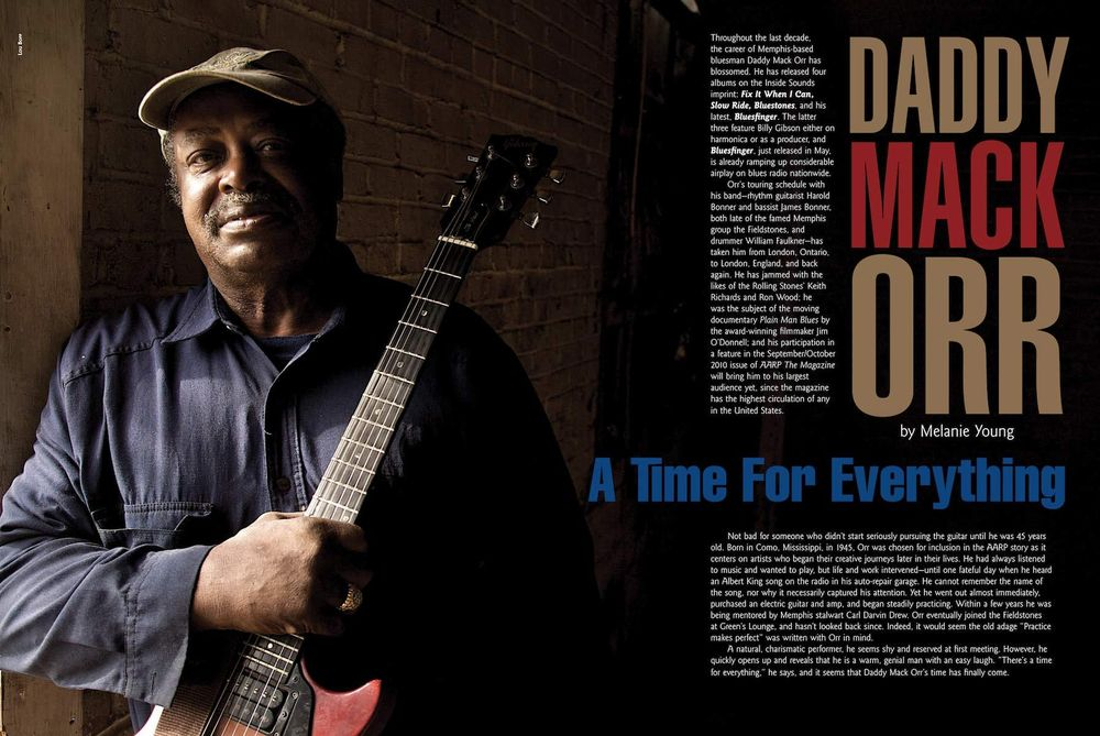 Mississippi bluesman Daddy Orr Mack Double Page Spread Magazine Feature