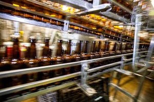Motion Blur of Bottles on a Production Line