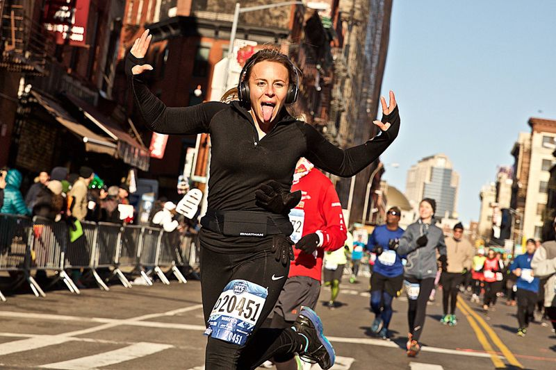 Woman Running the NYC Half Marathon