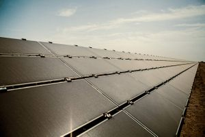 Linear Perspective of a Row of Solar Panels