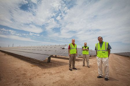 Executive Group Portrait at a Solar Farm