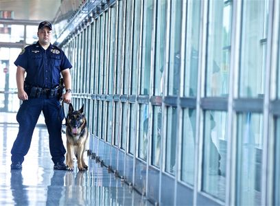 Port Authority Policeman with Dog