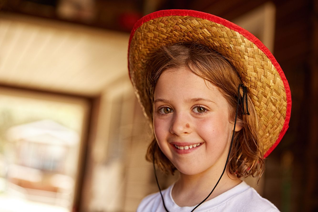Girl Smiling With Cowboy Hat