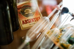 Old Absinthe Label & Glass Tubes