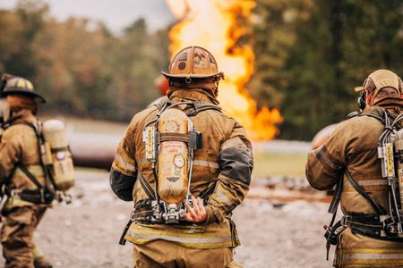 Firemen Facing a Training Fire