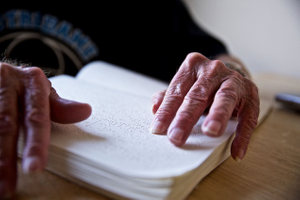 Man Reading Braille, Hands Only