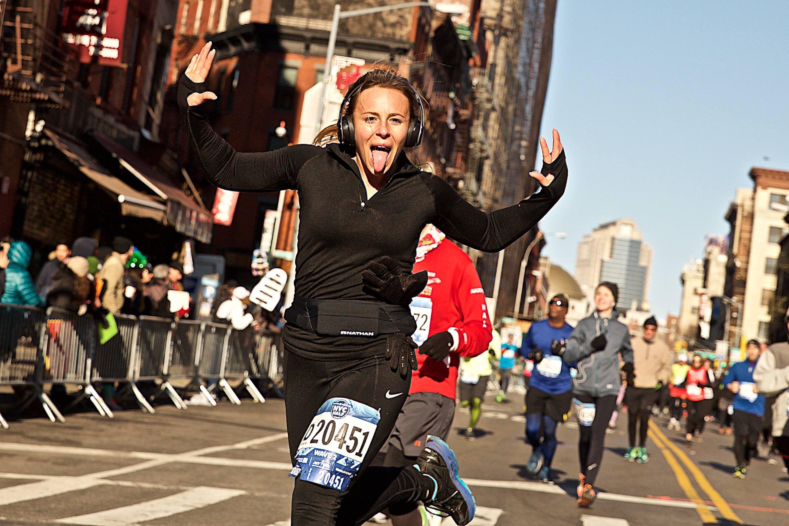 Woman Running the NYC Half Marathon