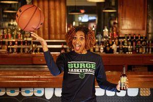 Basketball Player with Ball & Beer