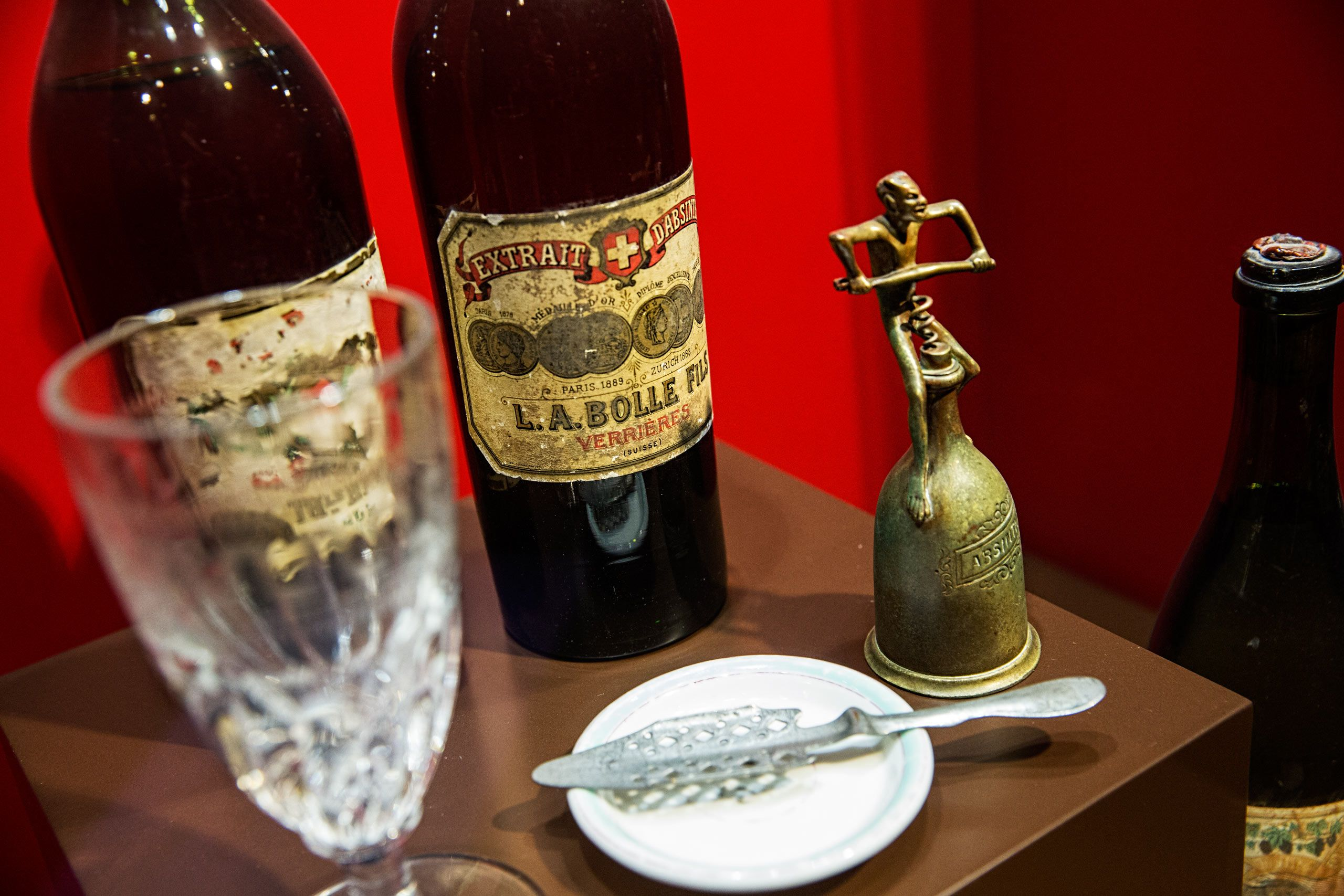 Old Absinthe Bottles, Labels and a Spoon