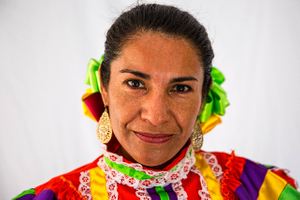 Portrait of  a Woman Wearing a Colorful Outfit