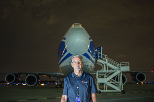 Environmental Portrait of a Manager In Front of a 747