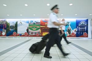 Pilots Walking Inside an Airport
