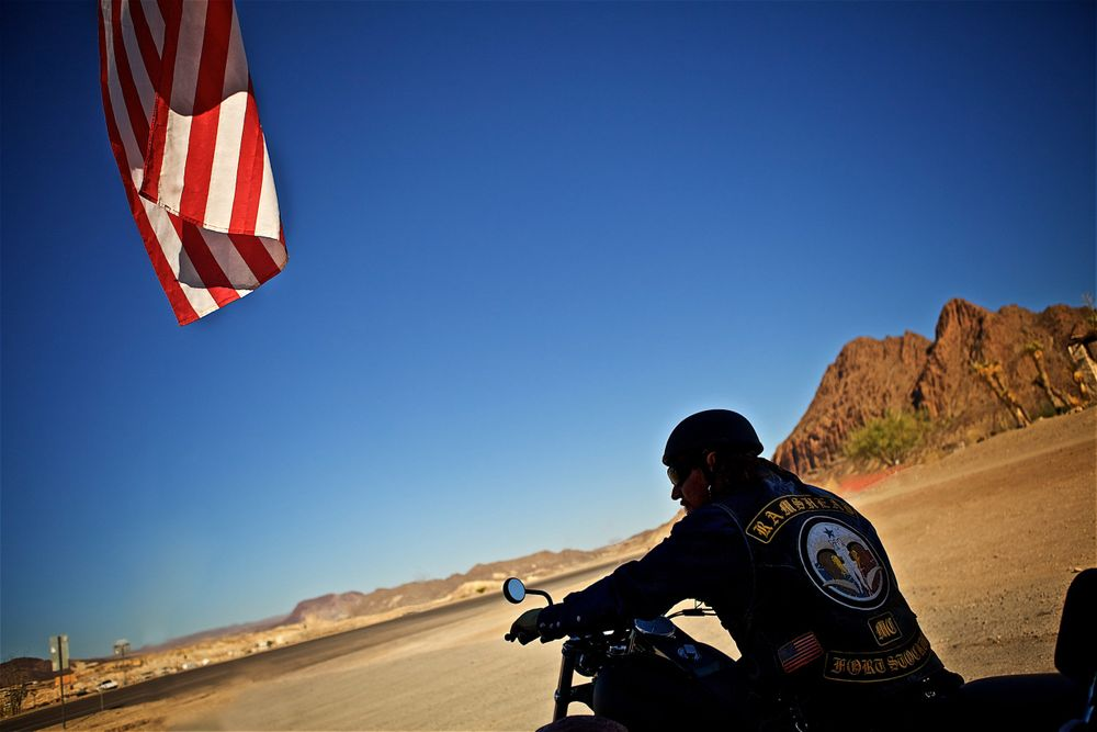 Back of a Motorcycle Rider in Southwest