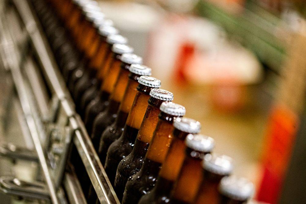 Line of Moving Bottles of Beer