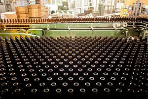 Production Line of Empty Beer Bottles
