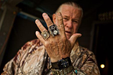 Elvis Superfan Paul MacLeod Showing His Rings