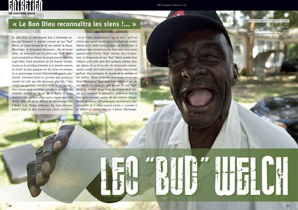 "Bluesman Leo ""Bud"" Welch Magazine Double Page Spread"