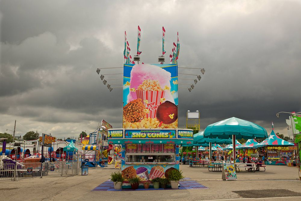 Sno Cone Stand With Grey Overcast Sky