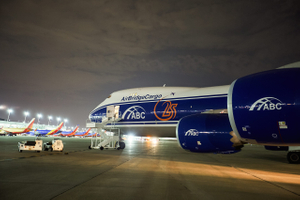 Wide Side View of the Front of a Boeing 747 Airplane